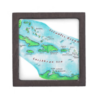 Map of Caribbean Islands Gift Box