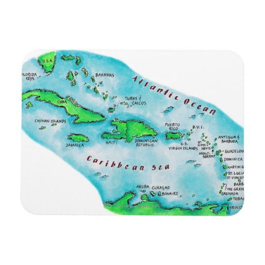 Map of Caribbean Islands Magnet