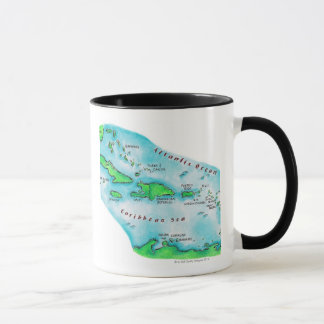 Map of Caribbean Islands Mug