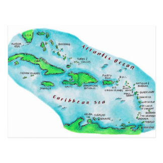 Map of Caribbean Islands Post Cards