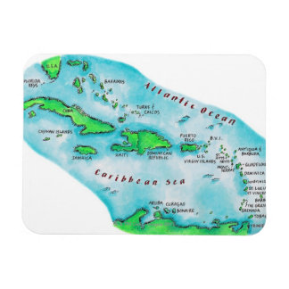 Map of Caribbean Islands Rectangle Magnet