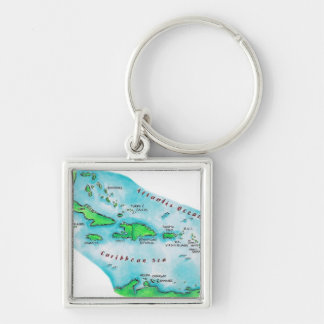 Map of Caribbean Islands Silver-Colored Square Keychain