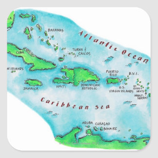 Map of Caribbean Islands Square Sticker