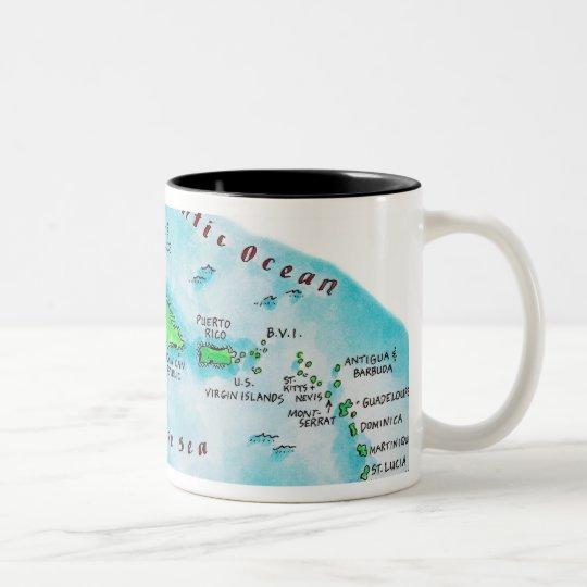 Map of Caribbean Islands Two-Tone Coffee Mug