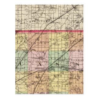 Map of Cass County, Michigan Postcard