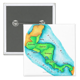 Map of Central America 2 Inch Square Button