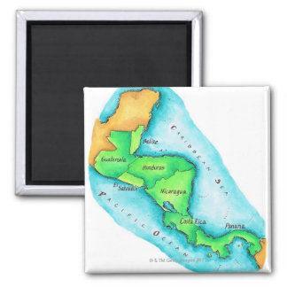 Map of Central America 2 Inch Square Magnet