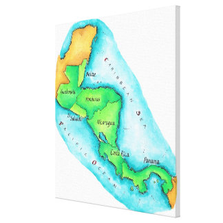 Map of Central America Gallery Wrapped Canvas