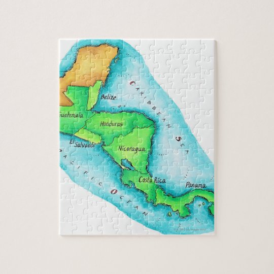 Map of Central America Jigsaw Puzzle | Zazzle.com
