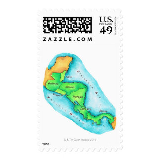 Map of Central America Postage Stamp