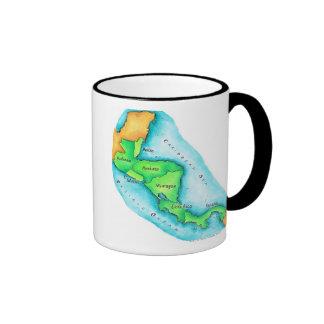 Map of Central America Ringer Mug