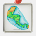 Map of Central America Square Metal Christmas Ornament