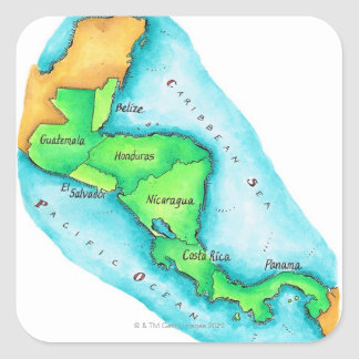Map of Central America Square Sticker