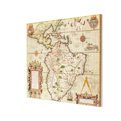 Map of Central and South America Canvas Print