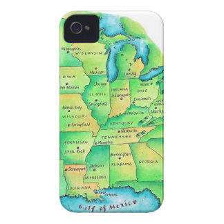 Map of Central United States Case-Mate iPhone 4 Case