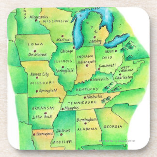 Map of Central United States Drink Coaster