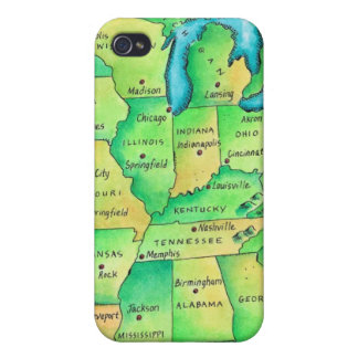 Map of Central United States iPhone 4/4S Case