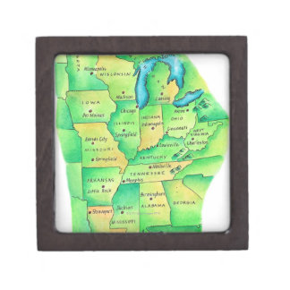 Map of Central United States Jewelry Box