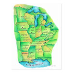 Map of Central United States Postcard