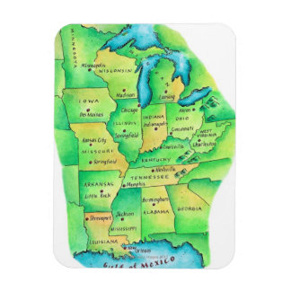 Map of Central United States Rectangular Photo Magnet