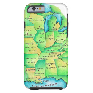 Map of Central United States Tough iPhone 6 Case