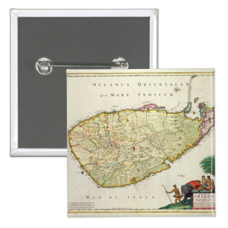Map of Ceylon according to Nicolas Visscher Pinback Button