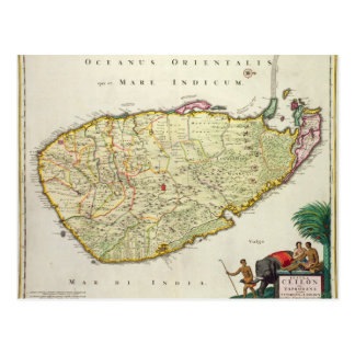 Map of Ceylon according to Nicolas Visscher Postcard