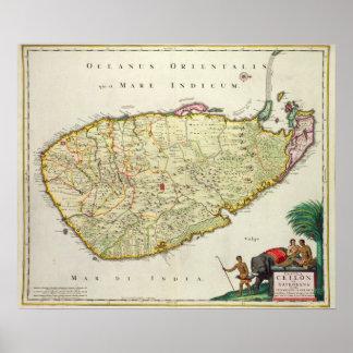 Map of Ceylon according to Nicolas Visscher Poster