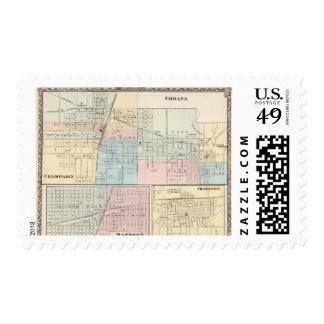 Map of Champaign, Urbana, Mattoon and Charleston Postage Stamp