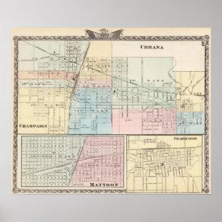 Map of Champaign, Urbana, Mattoon and Charleston Poster