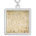 Map of Charles V, Map of Mecia Square Pendant Necklace