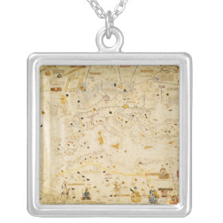 Map of Charles V, Map of Mecia Silver Plated Necklace
