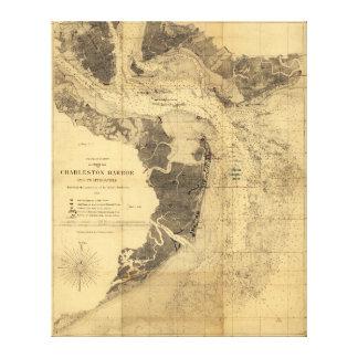 Map of Charleston Harbor South Carolina (1863) Canvas Print