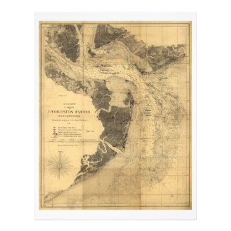 Map of Charleston Harbor South Carolina (1863) Letterhead