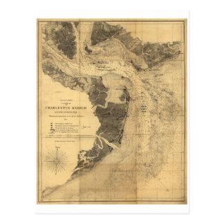 Map of Charleston Harbor South Carolina (1863) Postcard