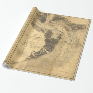 Map of Charleston Harbor South Carolina (1863) Wrapping Paper