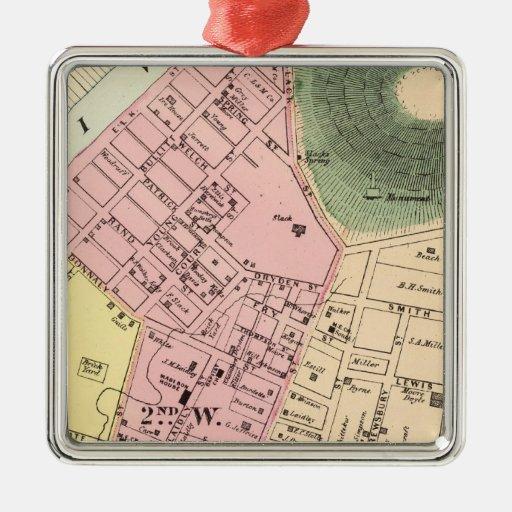 Map of Charleston, West Virginia Square Metal Christmas Ornament