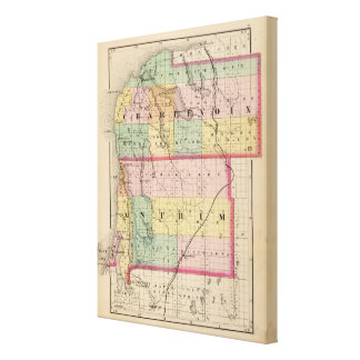 Map of Charlevoix and Antrim counties, Michigan Canvas Print