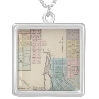 Map of Chatfield, Map of Caledonia, Minn Square Pendant Necklace