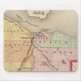 Map of Cheboygan County, Michigan Mouse Pad