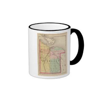 Map of Cheboygan County, Michigan Ringer Coffee Mug