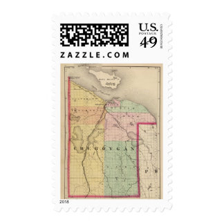 Map of Cheboygan County, Michigan Stamps