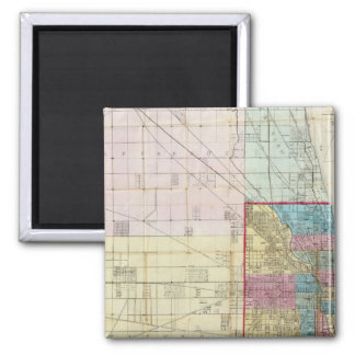 Map of Chicago 2 Inch Square Magnet