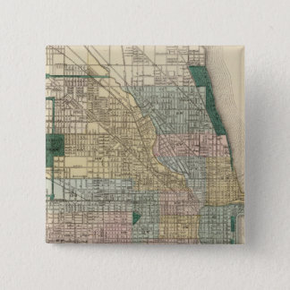 Map of Chicago City Pinback Button