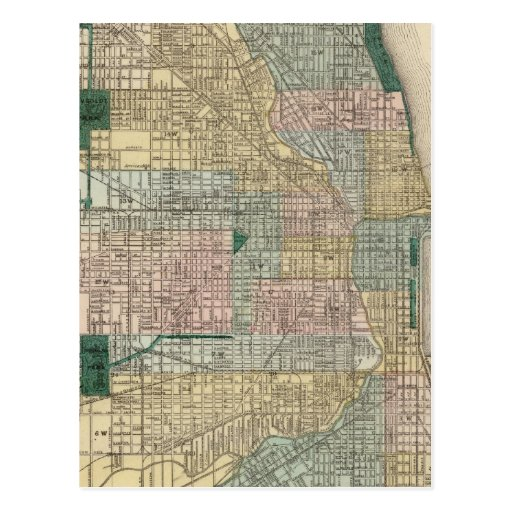 Map of Chicago City Post Card