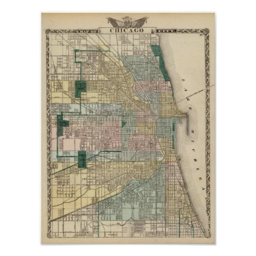 Map of Chicago City Print