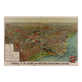 Map of Chicago Railroad Lines 1905 Print