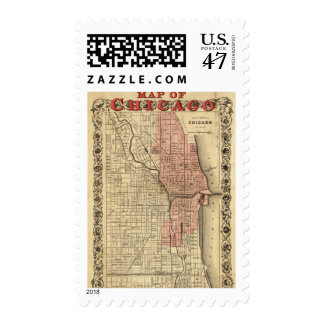 Map Of Chicago Showing The Burnt District Stamp