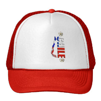 Map of Chile 2010 Chilean flag and soccer ball art Hats