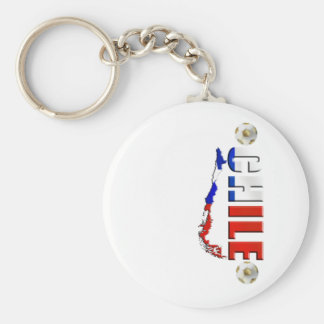 Map of Chile 2010 Chilean flag and soccer ball art Keychain